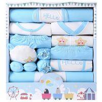 18 PCS Newborn Cotton Unisex Girl Hollitos Pantalones Sombreros Guantes Socks Boy Ropa de manga larga Bebé Juego 210309