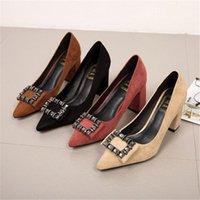 Hot sale-Crystal High Heels Women Thick Heels Pumps 5cm 7cm Rhinestone Wedding Shoes Woman Chunky High Flock Pumps Lady Shoes1