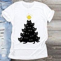 Camiseta para mujer Las mujeres cortan gato Cat Funny 90s Ladies Tshirts TEE Historieta Feliz Navidad Imprimir Ropa Top Gráfico T Shirt