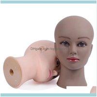 Aessories Herramientas Productos para el cabello Bald Mannequin Cabeza con abrazadera Femenina para la peluca Hacer sombrero Cosmetología Manikin Maquillaje Práctica1 Drop de