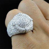 S925 Sterling Silver 2 Carats Zircon anneaux pour femmes Anillos de Gemstone Bizuteria Mariage Argent 925 Bijoux Bague Bague pour hommes