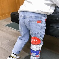 Jeans Kids Boys Autumn Winter Pants 2021 Denim Baby Ripped Long Cowboy Cartoon Children Trousers Toddler Clothing