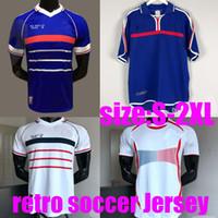 Top Thailandia 2000 06 1996 98 Francia Retro Kids Vintage Soccer Jersey Trézéguet 10 Zidane # 12 Henry Maillot de Foot 98 Ribery Trezeguet Camicia