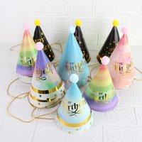 Gelukkige verjaardagsfeestje hoed kinderen verjaardagen baby volwassen harige bal cap Kleurrijke rode serie hoeden decoraties w-00798