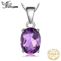 Natural Amethyst Pendant 925 Sterling Silver Gemstone Choker Statement Necklace Women silver 925 Jewelry No Chain