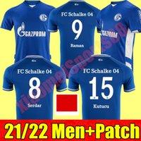 2021 2022 FC Schalke 04 Futbol Formaları Huntelaar Uth Raman Hoppe Bentaleb 21 22 Eve Dight Jersey Kutucu McKennie Erkekler Futbol Gömlek