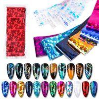 22 Colors DIY Laser Starry Sky Semi Cured Gel Nail Foil Transfer Stickers Nail Art Sticker Set