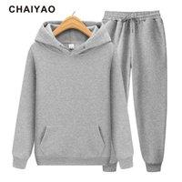 Chaiyao Homme Suit Sweat à capuche + Pantalon automne / hiver Sweat à capuche Sweatpants Fashion Slim Sund Homme Suit Pantalon Hip Hop Pullover X0601