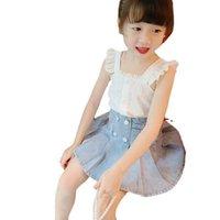 Süße Mädchen passt Kinder Sommer Sommer Spitze Tanktops Denim Röcke 2 stücke Kind Outfits Mode Mädchen Kleidung Kinder Kleidung B3986