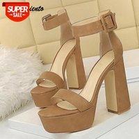 Pensamiento Yaz Platformu Kadın Sandalet Rahat Kalın Topuklu Rahat Ayakkabılar Takozlar Süper Yüksek Topuklu Bayan Gladyatör Sandalet # IF7F