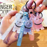 Keyring Keychain New crystal Bulldog key chain cute girl heart resin dog schoolbag Pendant