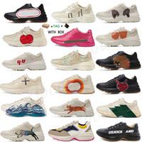 2021 Sneakers de couro vintage rhryton homens desenhador sapatos mulheres casuais senhoras clássico branco couro grossa sola treinador do vintage pai sapatos # 895