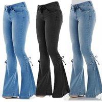 Mujeres Denim Jeans Sexy Elástico Nuevo Cuerno Pequeño Pantalones Slim Fit Pantalones Fashion Hem Strap Solid Solid Casual Jeans Largos