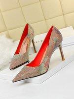 حذاء اللباس الإناث الجميلة فائقة الوثائقية أخف وزنا أشار اللون مطابقة الماس رفيع الأزياء