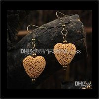 Jewelry Fashion Heart Shape Colored Lava-Rock Charm Earrings Aromatherapy Essential Oil Diffuser Dangle Stud Per Jewelry Drop Delivery 2021