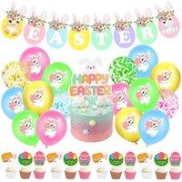 Ostern Thema Party Ballons Fröhliche Ostern Banner Bunny Ballons Set Frühling Party Dekorationen Kinder Spielzeug Ballons HWA3689