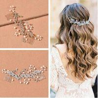 Headpieces Bridal Hair Comb, Silver Flower Headdress Insert Wedding Dress Accessories, Jewelry