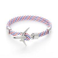 20 Kleuren Moda Silvers Anken Armbanden Mannen Vrouwen Charm Halat Zincir Paar Armband Metalen Vliegtuig Lederen Haken Homme Sieraden