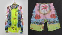 Palacio de barroco, hombres y mujeres, pareja de estrellas de mar, shell top + trajes cortos