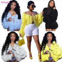 Women's Jackets Adogirl Hand Tassel Knitted Cardigan Sweater Coat Women Sexy Hollow Out Lace Up Long Sleeve Crop Tops Fashion Cover Ups Cape