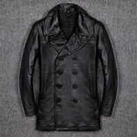 Men's Leather & Faux Genuine Jacket Men Business Plus Cotton Casual Slim Fit Windbreaker Cowhide Long Winter Coat