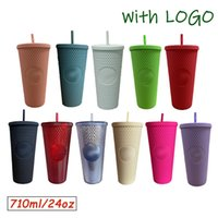 Diamant Strahlungsgöttin Starbucks Cup mit Logo 710ml Sommer Kaltwasserbecher Tumbler mit Stroh Doppelschicht Kunststoff Durian Kaffeetasse