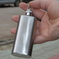 Hip Flasks DHL 500pcs High Quality 2oz Mini Stainless Steel Flask Alcohol Flagon With Keychain