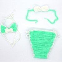 Trousers 40JC 3 Pcs Born Pography Props Outfits Baby Girl Crochet Headband Shorts Bikini