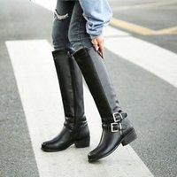YMEKİK 2018 Kış Peluş Blcak Kahverengi Bayan Ayakkabı Toka Düşük Tıknaz Topuk Orta Buzağı Yüksek Uzun Şövalye Çizmeler Kadın Botas Artı Boyutu R4tu #