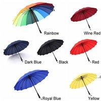 Long Straight Handle Umbrella 16K Strong Windproof Solid Color Pongee Umbrellas Rainbow Men Women Sunny Rainy Bumbershoot EWE8323