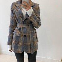 Fêmeas fitas blazers outono vintage xadrez mulheres blazer casacos casuais individuais botões femininas feminino moda inverno manga longa senhoras