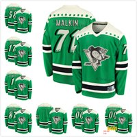 Personalizado 8 Brian Dumoulin 2021 St Patricks Day Sidney Crosby Evgeni Malkin Kris Letang Güentzel Pittsburgh Penguins Hombres Mujeres Jersey Jersey