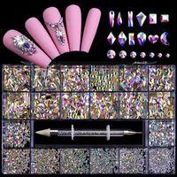 Nail Art Décorations Mixte AB Cristal Cristal Strass Strass Pierre Glitter Diamant dans les grilles 21 Forme avec Pick Up Stylo Manucure
