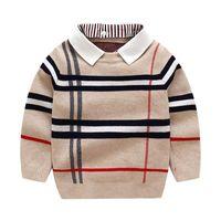 2021 가을 겨울 소년 스웨터 니트 스트라이프 스웨터 유아 키즈 긴 소매 풀오버 어린이 패션 스웨터 옷