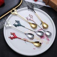 Spoons 1Pc 2021 Year Stainless Steel Christmas Santa Elk Design Coffee Spoon Stirring Teaspoon Xmas Party Decorations