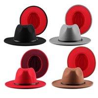 Jovivi Fashion Due tono rosso fondo a largo Brim Panama Trilby Cap in lana feltro fedora cappello panama cappello cappello casual jazz per uomini donne