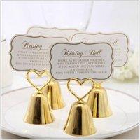 Décoration de fête Silver Heart Bell Place Porte-cartes Porte-cartes Faveurs de mariage avec assortie pour titulaires de table cadeau de Noël
