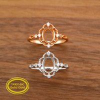 Oval Prong Ring Settings Solid 14K/18K Rose White Gold with Moissanite Accents DIY Vintage Style Filigree Bezel Tray 1224059