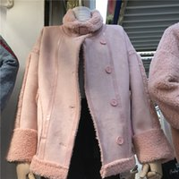 Jaqueta feminina 2021 novas roupas de inverno estilo coreano rosa moda fina encaixe de couro por mulher coat nu