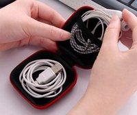 Étui de casque Casque PU Écouteurs en cuir Poche Pouch Mini Zipper Boîte Écouteur Protecteur USB Câble Organiseur Fidget Spinner Sacs de rangement 5 couleurs GWF5353