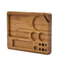 Natürliche Holz Rolling Fach Haushalt Rauchen Zubehör Mit Groove Exquisite Square Tobacco Roll Trays Zigarette 230 * 159 * 20mm HWF8086