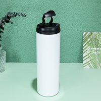20oz Sublimation Tumblers blank Glossy Straight tumbler With Novel Handle lids & clear Straw White box Stainless Steel Water Bottle Double wall Vacuum Insulated Cups