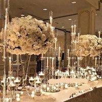 Party Decorazione stile cristallo cristallino candelabra centrotavola di nozze 8 bracci portacandele acrilico per tavolo seaway HWF11028