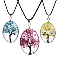 Oval Baum des Lebens Glas Halsketten Für Frauen Getrocknete Blumen Exemplar Anhänger Leder Kette Modeschmuck Geschenk 2954 Q2