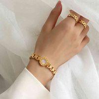 Titanio con 18 K Gold Chunky Watch Bracciale Braccialetto Donne Gioielli in acciaio inox Party T Mostra Runway Gown Giappone Corea del Sud