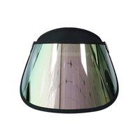 Широкие Breim Hats Европа Стильная голограмма Purple Rainbow прозрачный солнцезащитный защита от ультрафиолетовой ультрафиолетовый пластиковый козырек