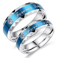Wedding Rings Fashion Blue Ring Stainless Steel Female Finger Women Engagement Jewelry