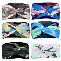 Geknotete Kreuz Camouflage Stirnbänder Druck Strick Schnelltrocknendes Kopftuch Mode Einfache Yoga Sport Haarschmuck Geschenke Großhandel