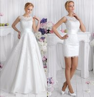 New 2 in 1 Lace Wedding Dresses With Detachable Skirt Boat Neck Two Pieces A Line Bridal Gowns vestido de noiva Custom Made