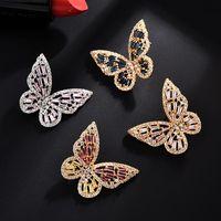 Orecchini cava coreani SS925 Ago Orecchini donna Farfalla intarsiata con zirconi super immortalli orecchini